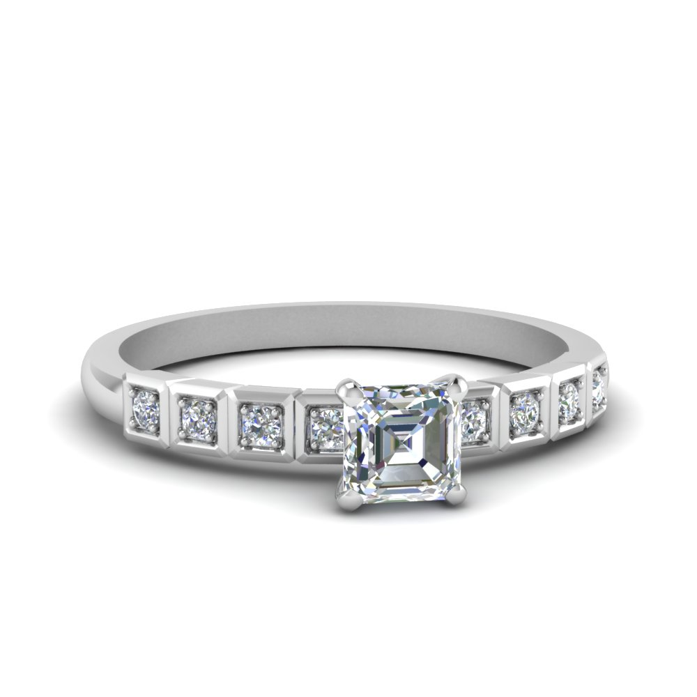 Asscher Cut Womens 0.50 Ct. Diamond Rings