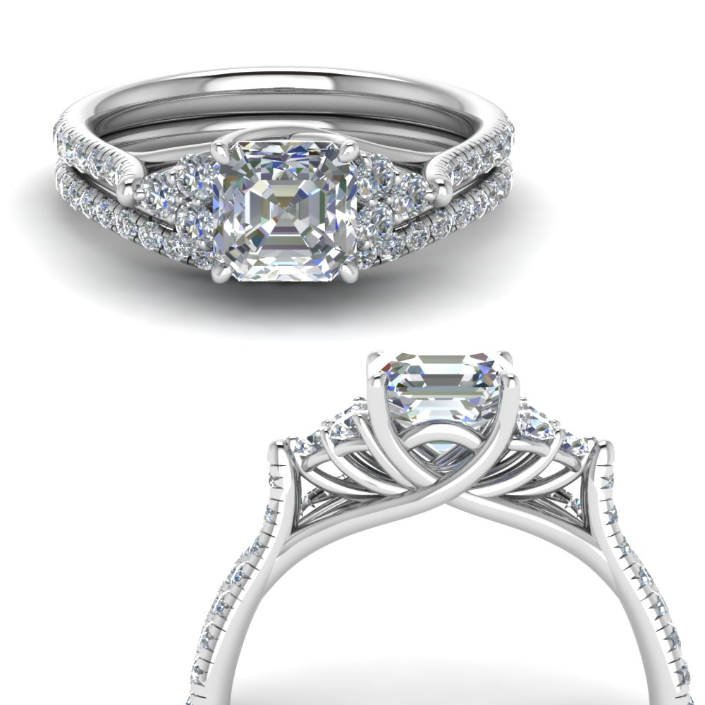 asscher cut petite cathedral diamond wedding ring set in FD123457ASANGLE3 NL WG