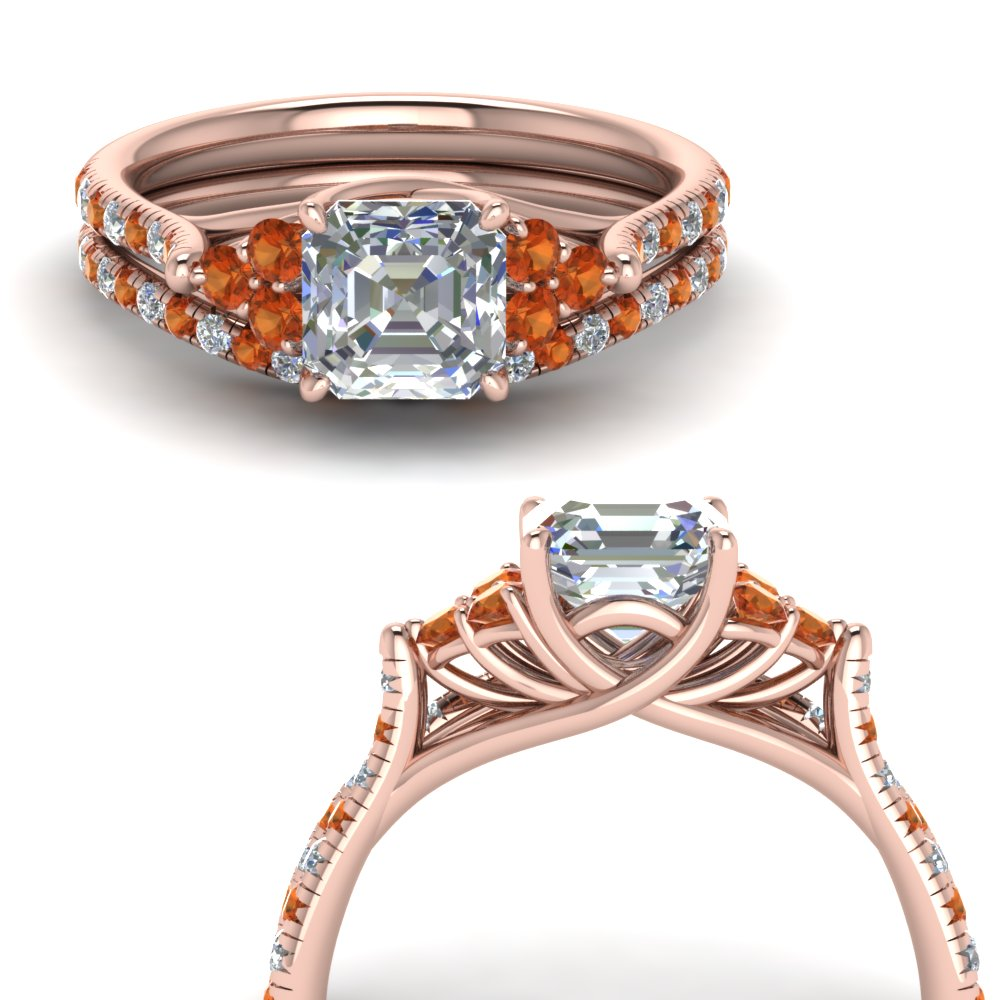 asscher cut petite cathedral diamond wedding ring set with orange sapphire in FD123457ASGSAORANGLE3 NL RG