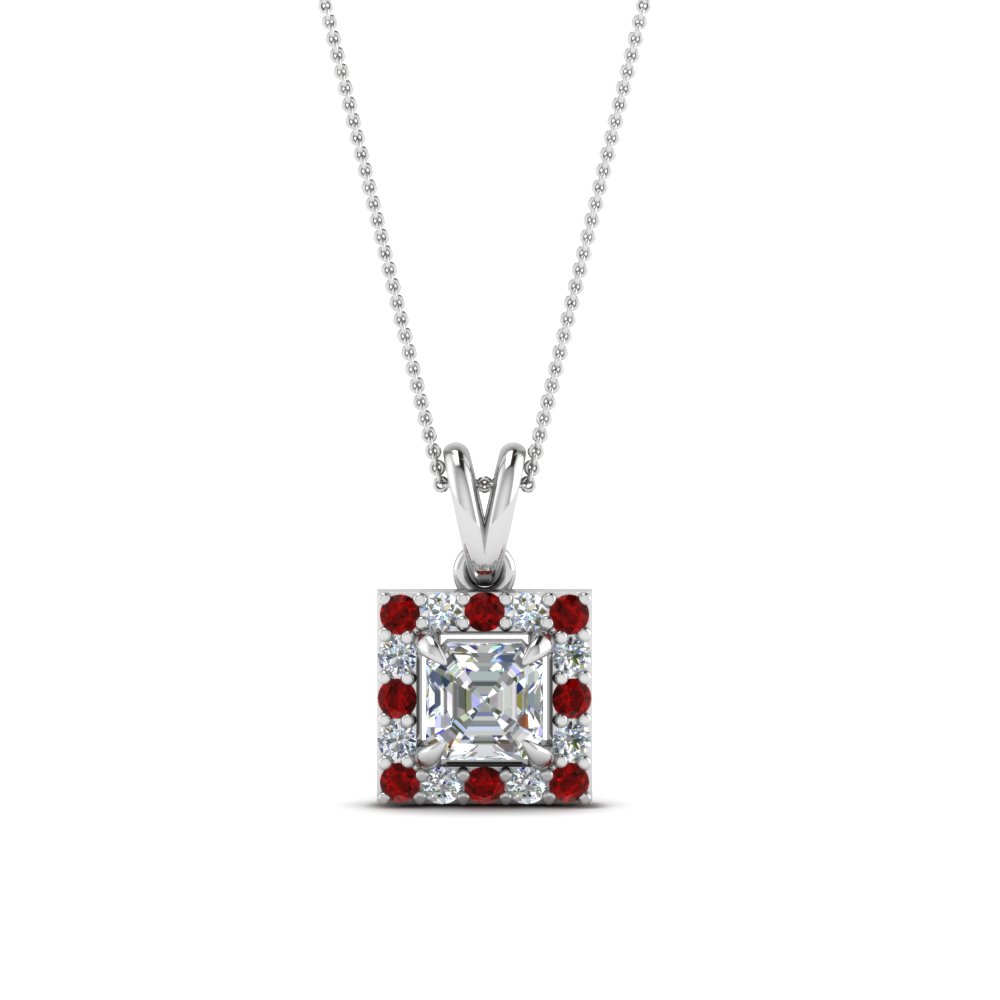 halo asscher diamond pendant with ruby in FDPD1188ASGRUDR NL WG