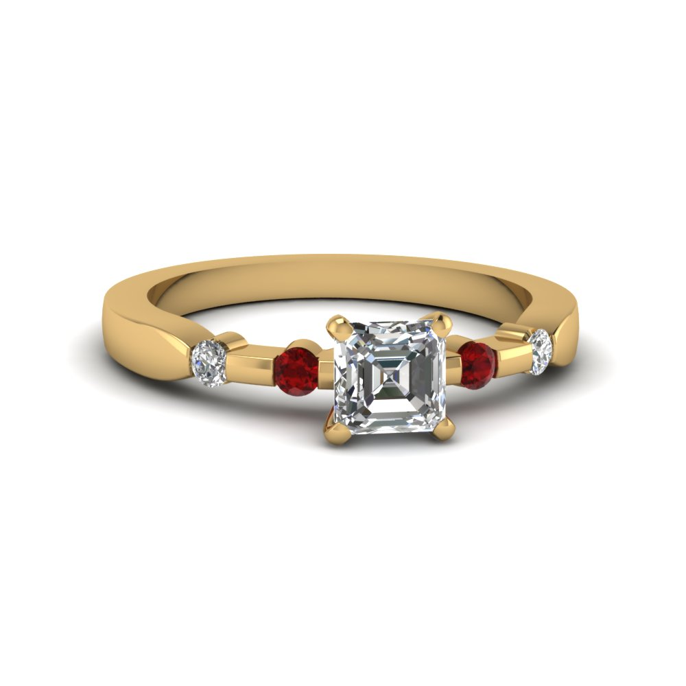 Asscher Cut Simple Petite Diamond Ring