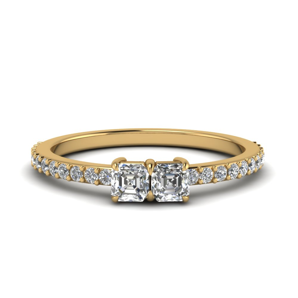 Asscher Cut Simple Two Stone Ring For Women