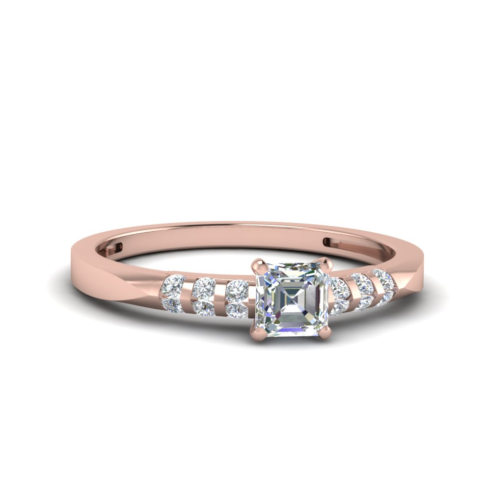 asscher cut simplet channel bar set diamond engagement ring in 14K rose gold FDENS3115ASR NL RG