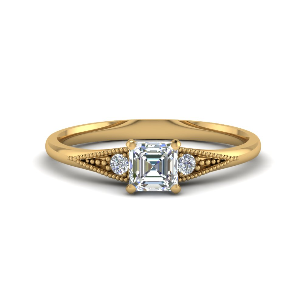 0.50 Ct. Asscher Cut Diamond Wedding Ring