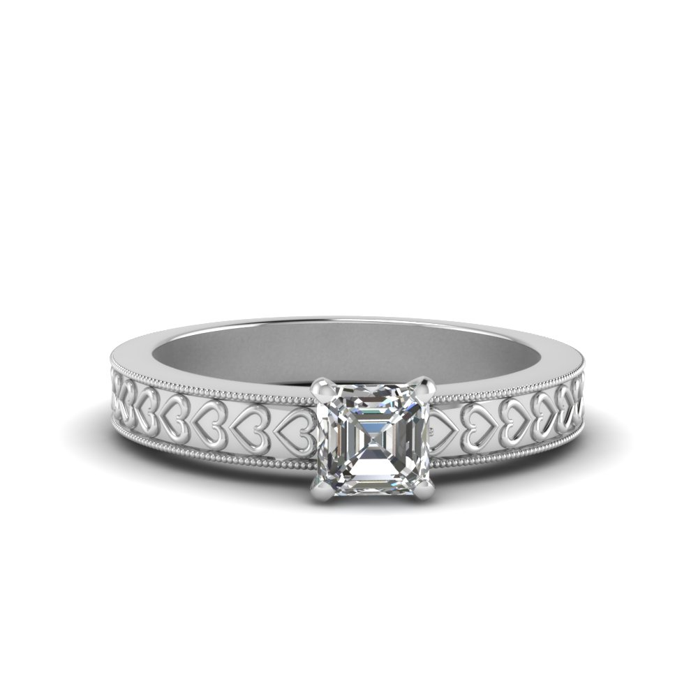 Asscher Cut Heart Design Engraved Ring
