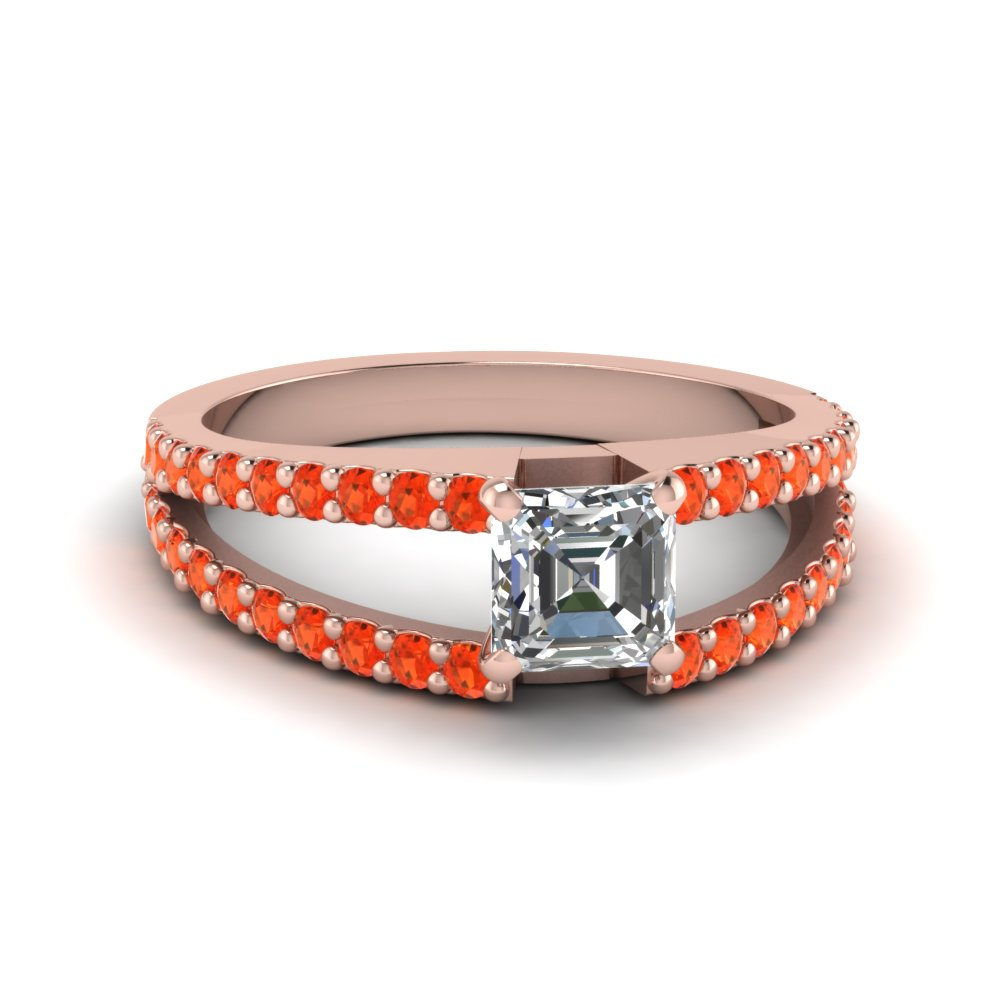 asscher cut split band gemstone with diamond engagement ring with poppy topaz in FDENR8335ASRGPOTO NL RG GS