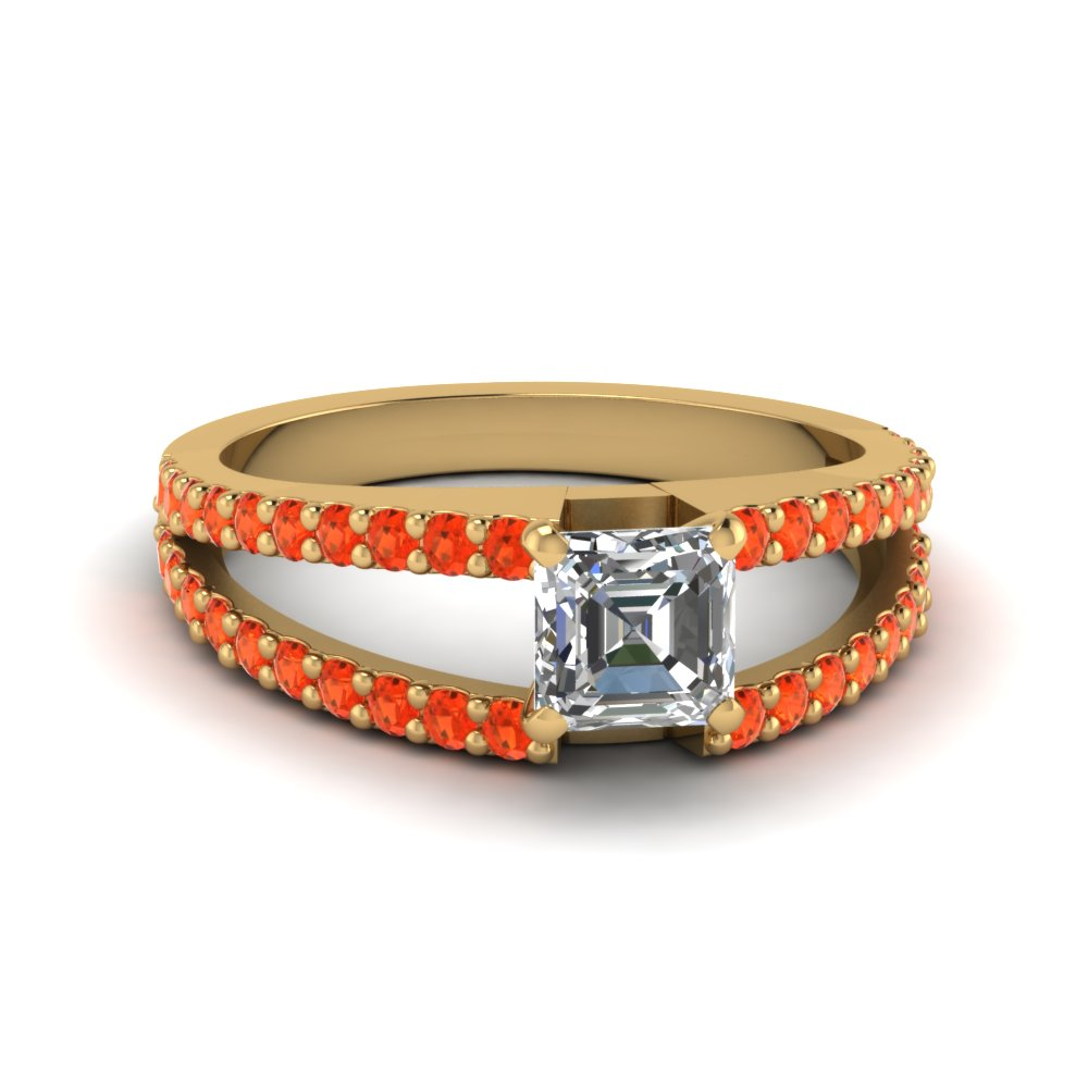 asscher cut split band gemstone with diamond engagement ring with poppy topaz in FDENR8335ASRGPOTO NL YG GS