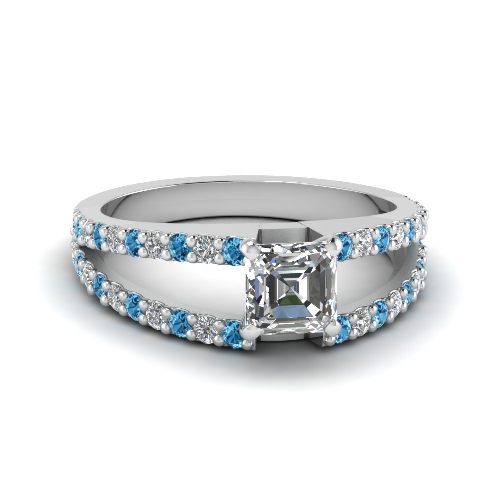 asscher cut split double band diamond engagement ring with ice blue topaz in FDENR8335ASRGICBLTO NL WG