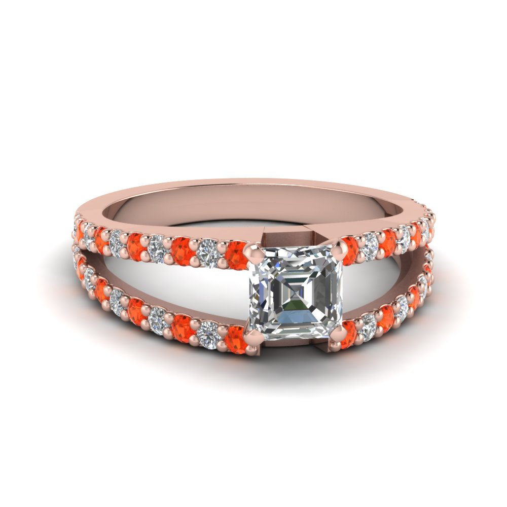 asscher cut split double band diamond engagement ring with poppy topaz in FDENR8335ASRGPOTO NL RG