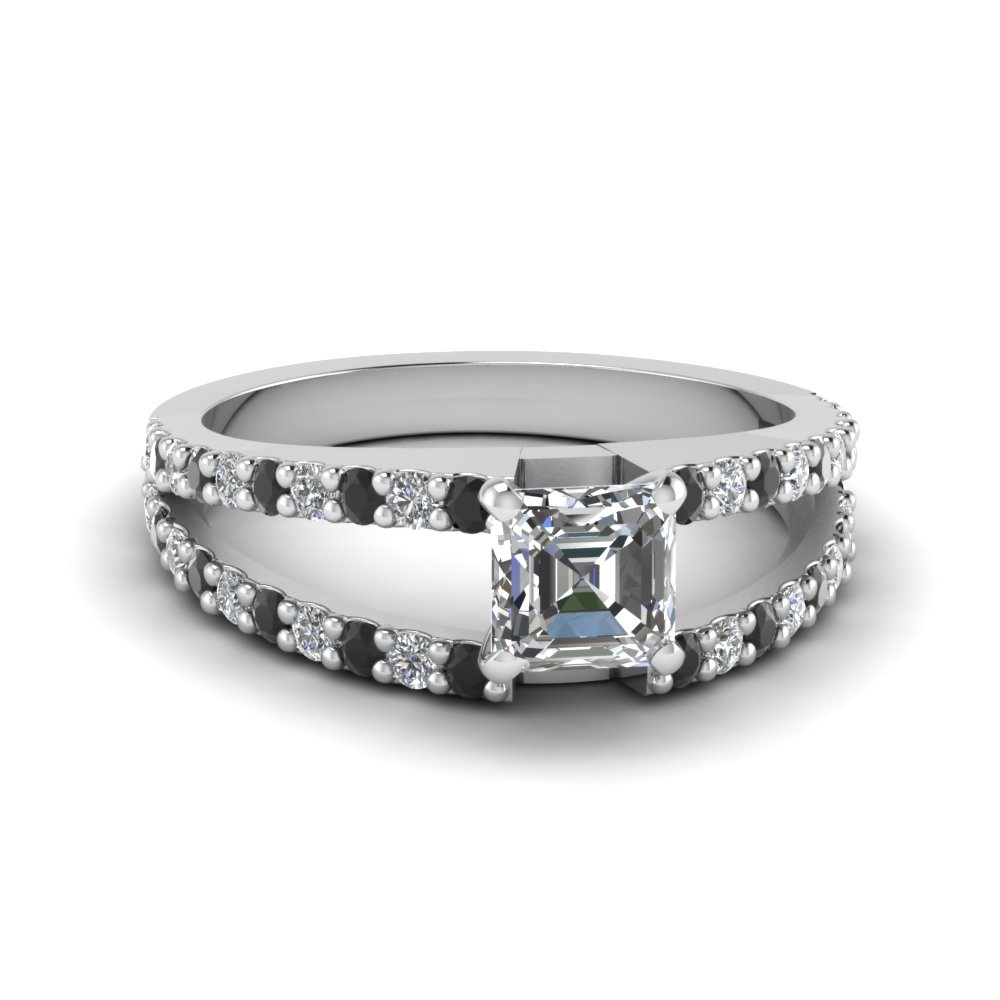 asscher cut split double band engagement ring with black diamond in FDENR8335ASRGBLACK NL WG
