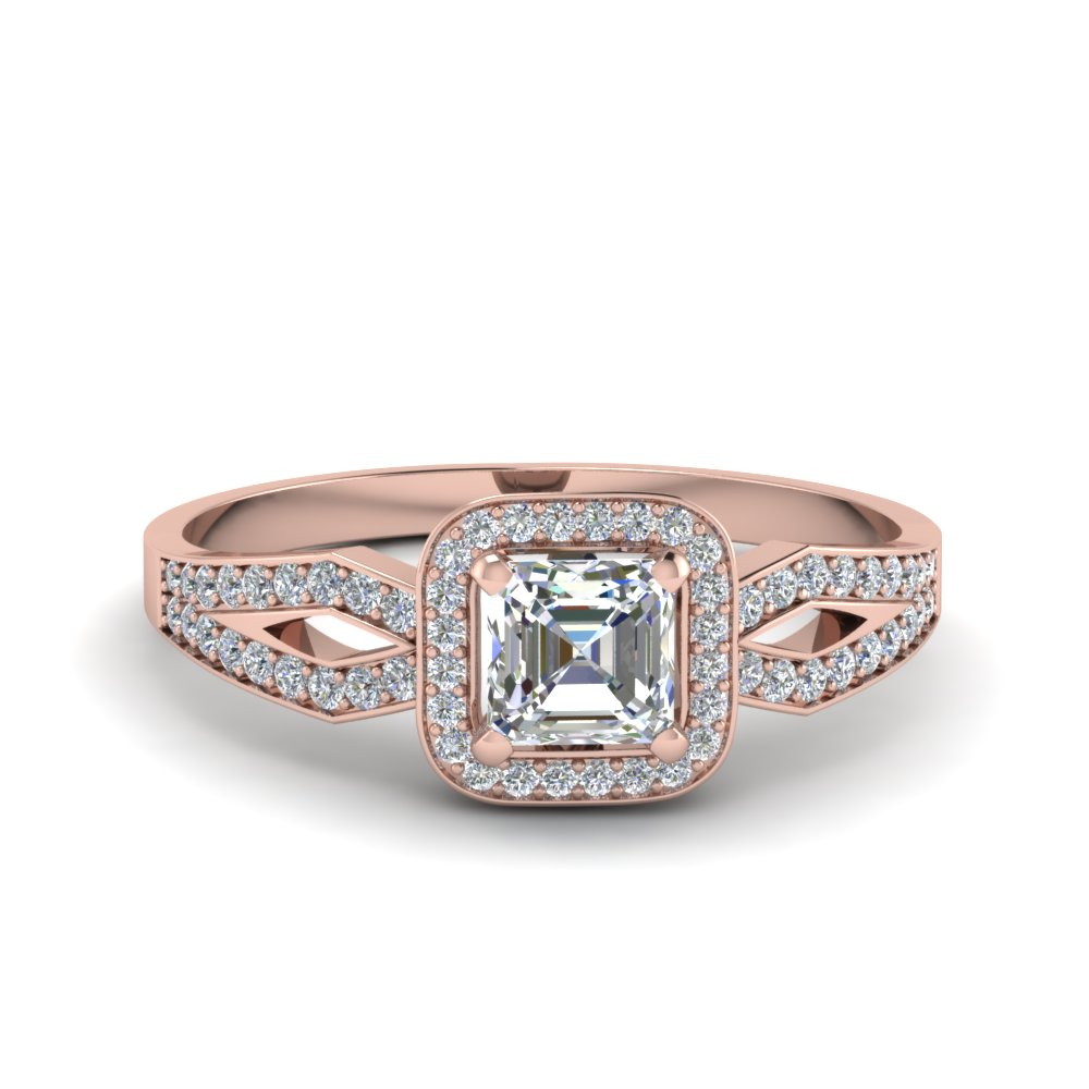 Asscher Cut Split Shank Halo Ring