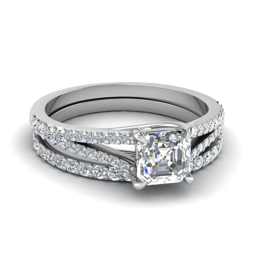 asscher cut diamond wedding ring sets with white diamond in 950 platinum - Platinum Wedding Ring Sets