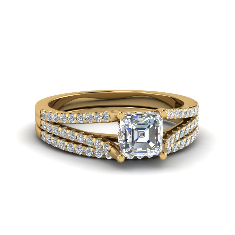 Asscher Cut Diamond Ring Set