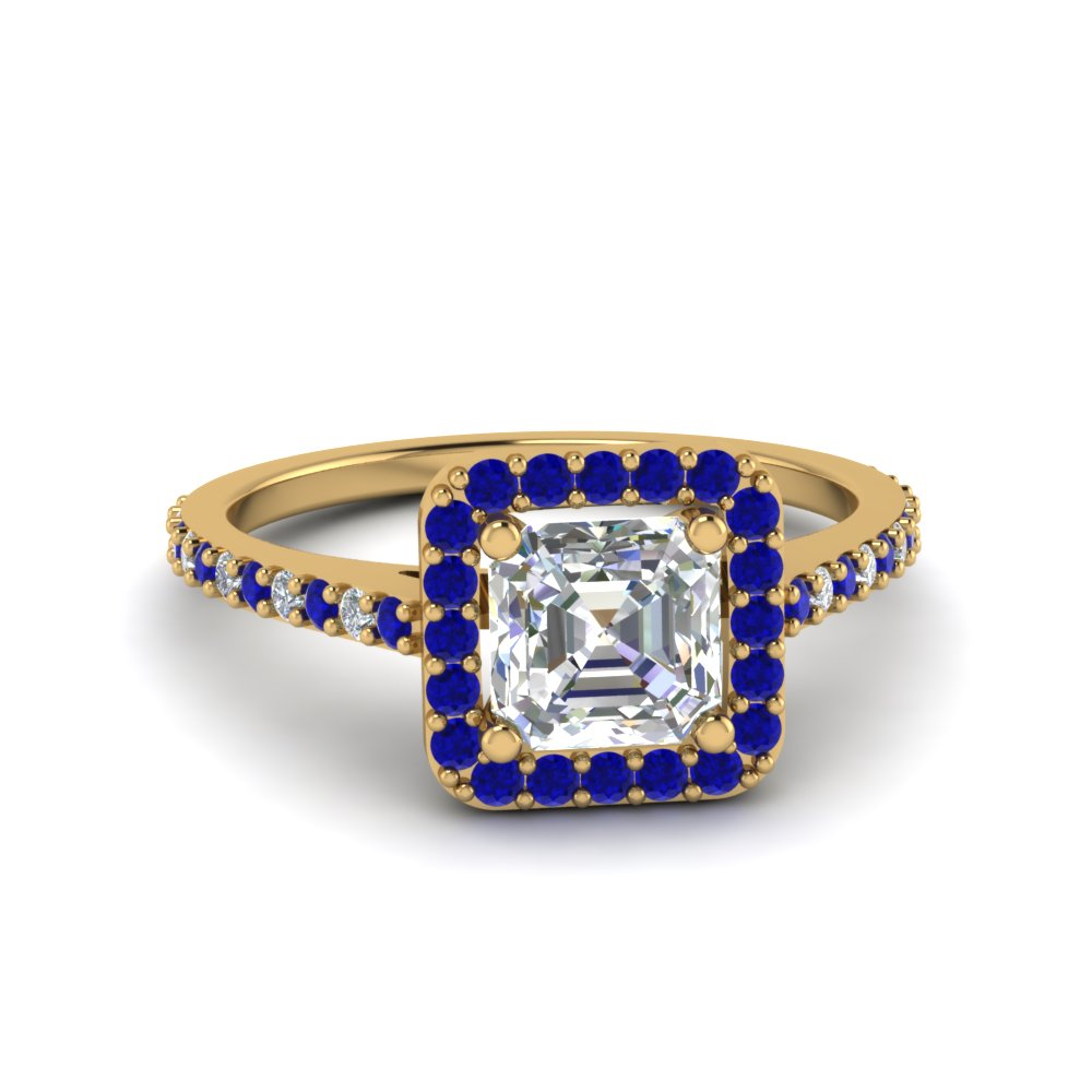 Asscher Cut Blue Sapphire Halo Engagement Rings