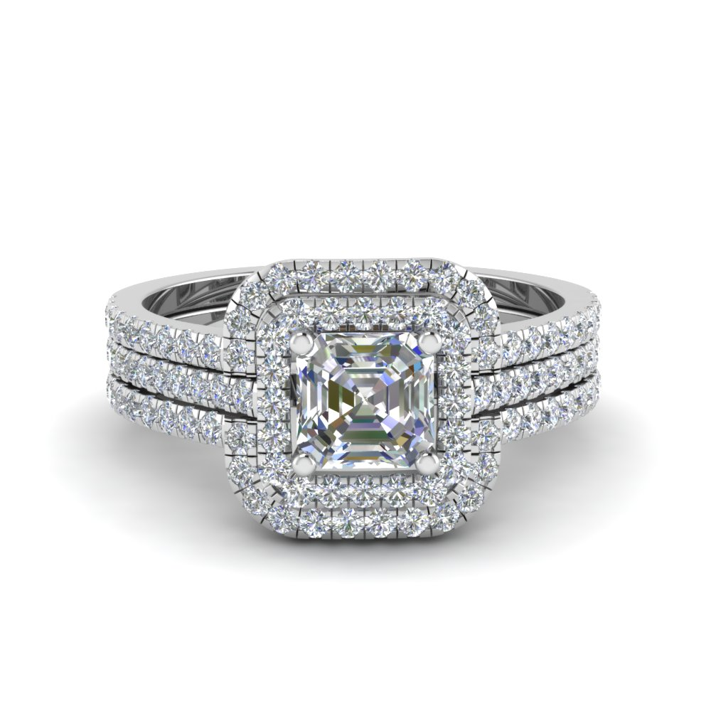 asscher cut square halo diamond engagement ring guard in fd8186tas nl wg - Square Wedding Rings