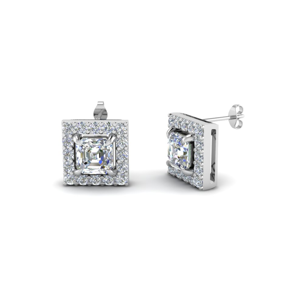 Asscher Diamond Halo Earrings