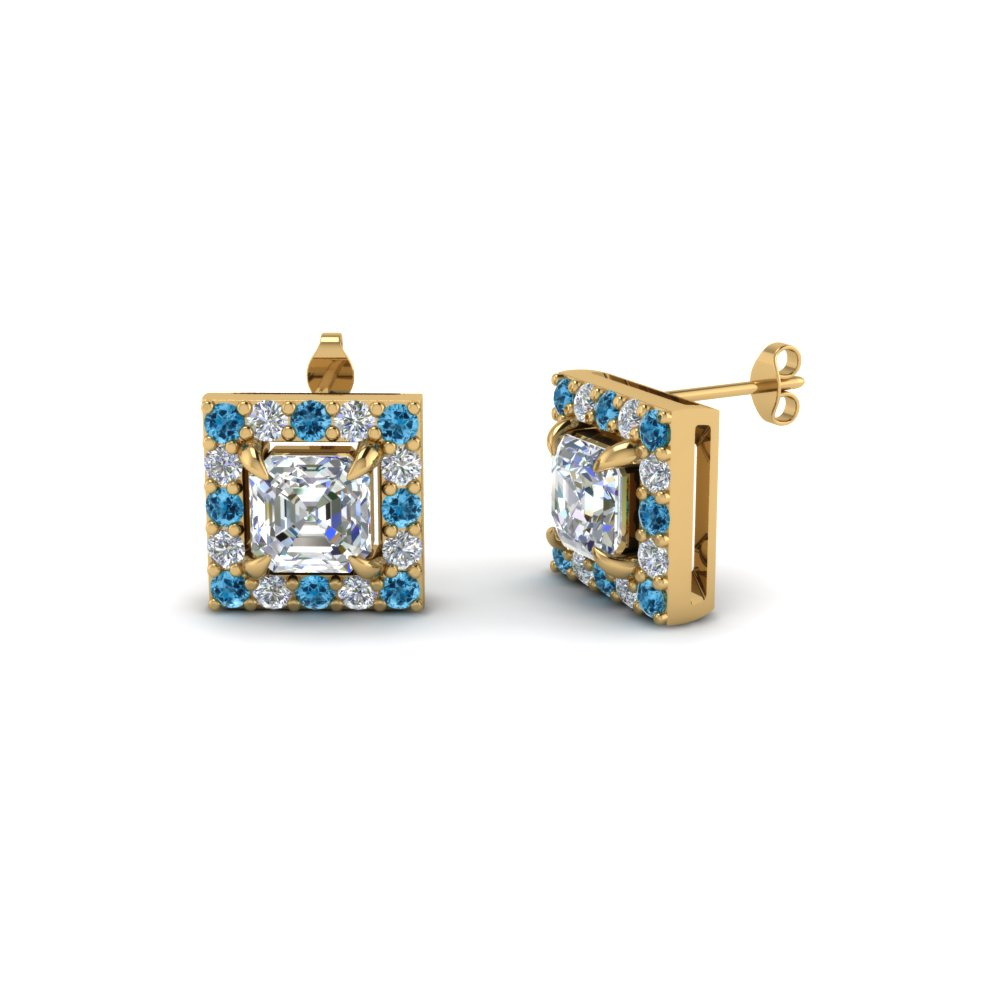 asscher cut stud diamond corona earrings with blue topaz in 14K yellow gold FDEAR1186ASGICBLTO NL YG