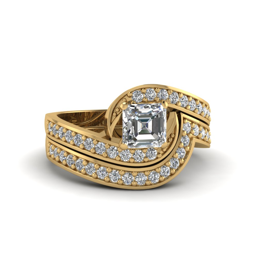 asscher cut diamond wedding ring sets with white diamond in 14k yellow gold - Affordable Diamond Wedding Rings