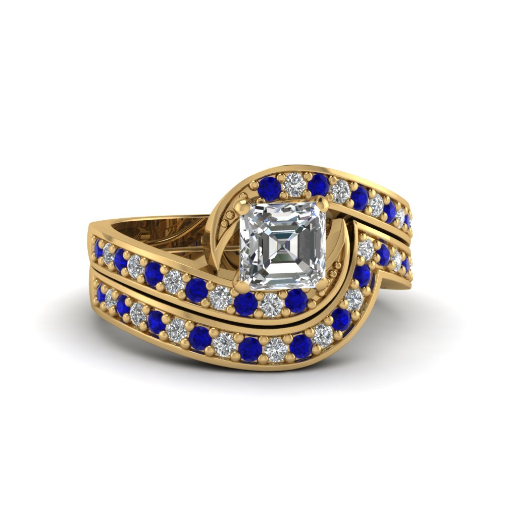 asscher cut swirl engagement ring and matching band with blue sapphire in FDENS3006ASGSABL NL YG