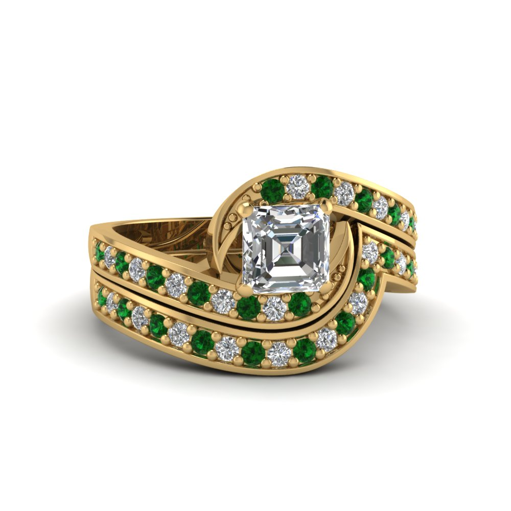asscher cut swirl engagement ring and matching band with emerald in FDENS3006ASGEMGR NL YG