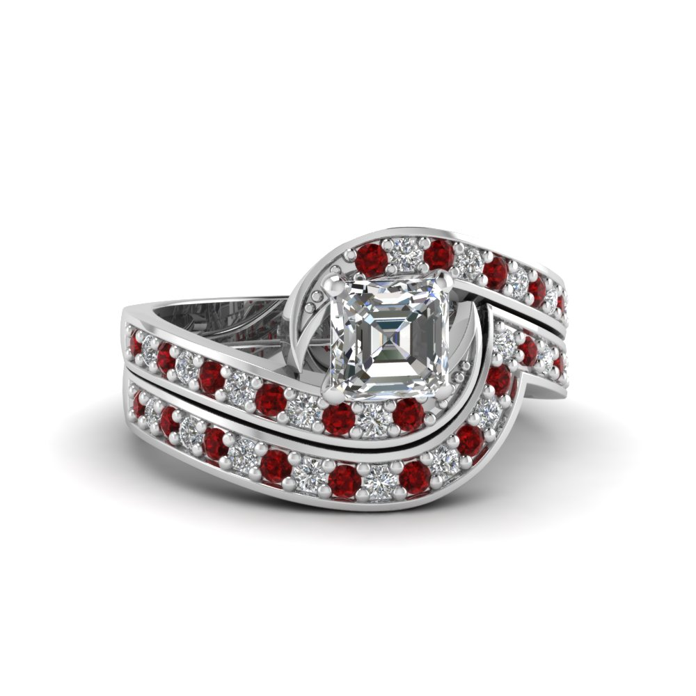 asscher cut diamond swirl engagement ring and matching band with ruby in FDENS3006ASGRUDR NL WG
