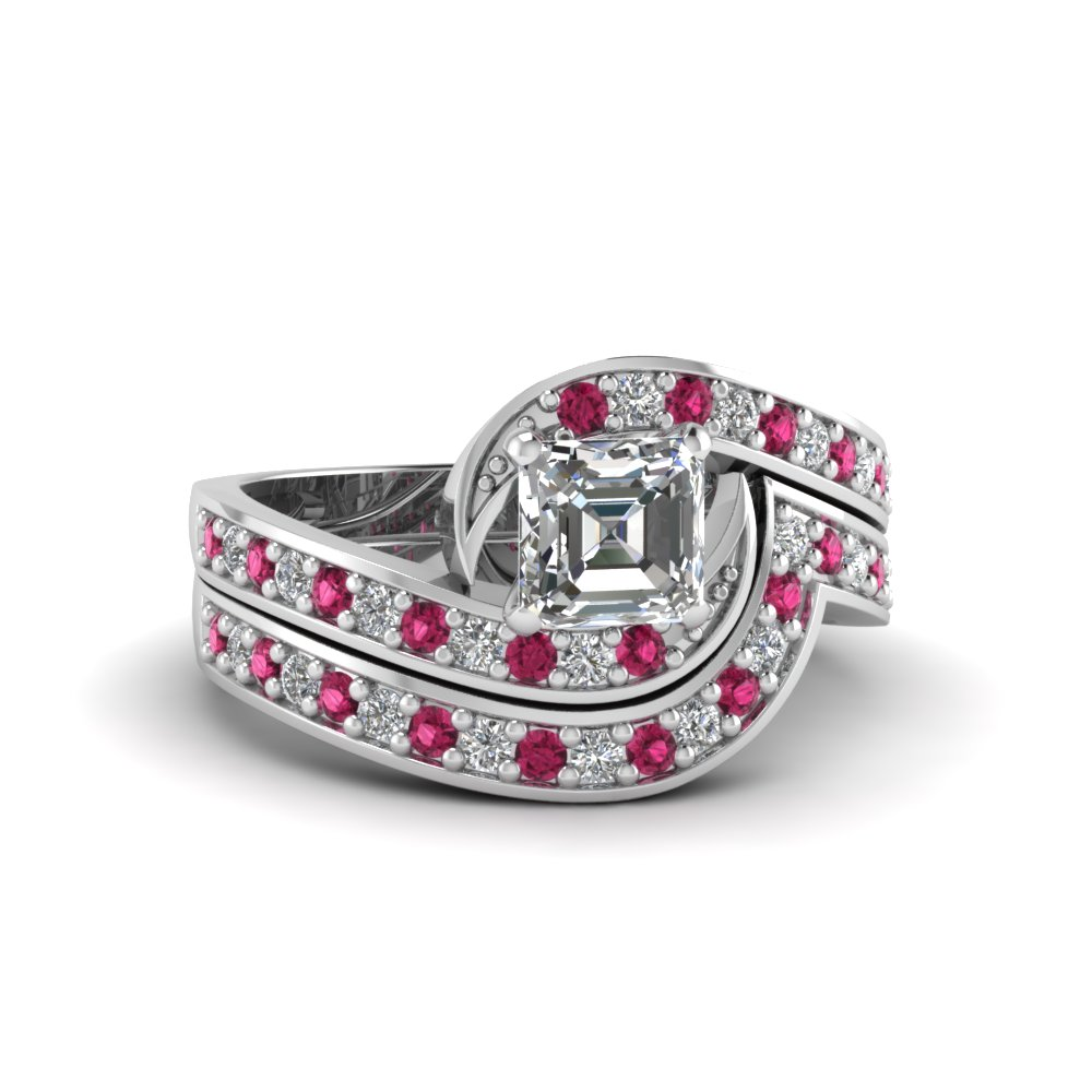 asscher cut swirl pave diamond wedding ring sets with pink sapphire in FDENS3006ASGSADRPI NL WG