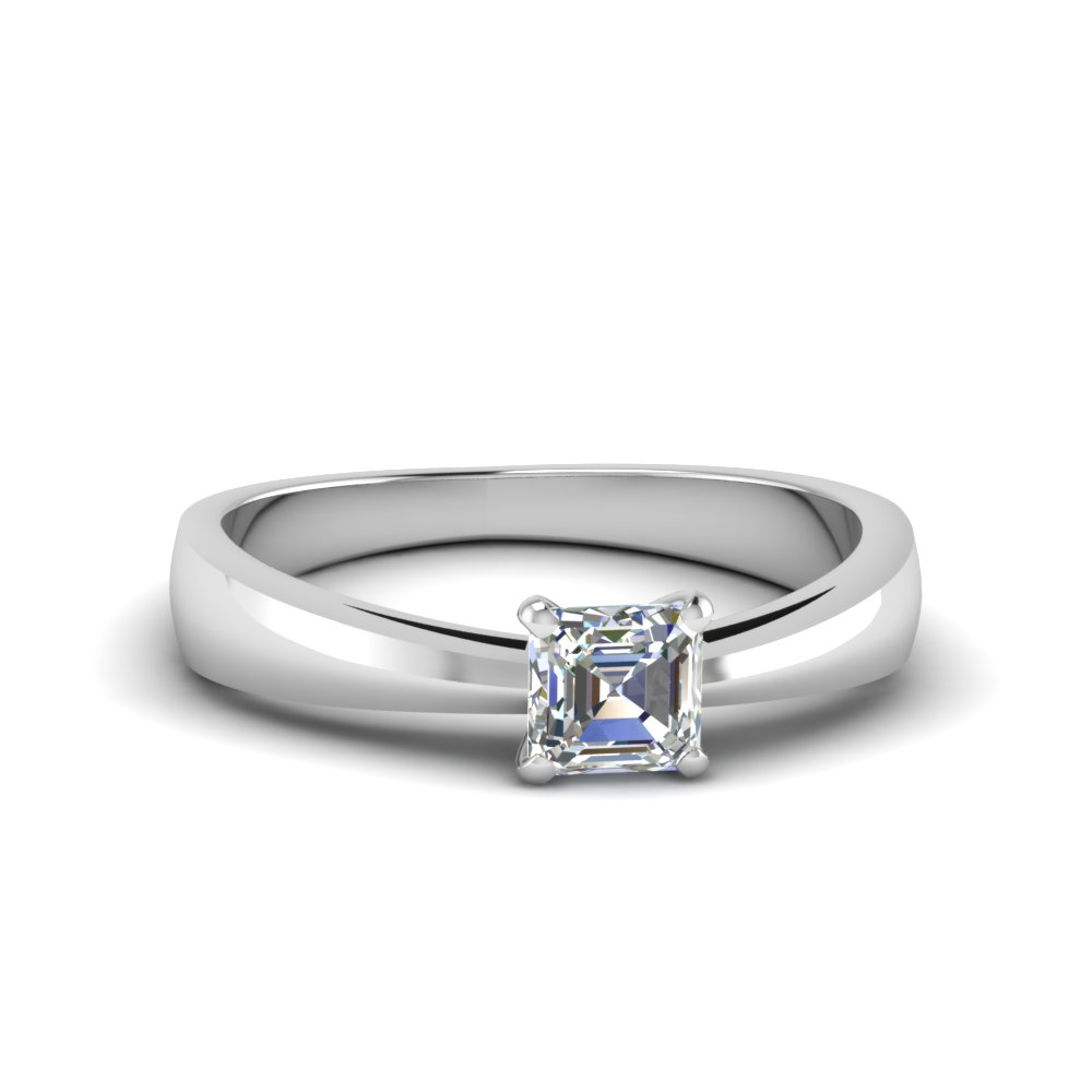 tapered asscher cut solitaire engagement ring in FDENR678ASR NL WG