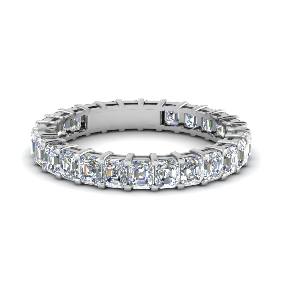 Asscher Diamond White Gold Eternity Band