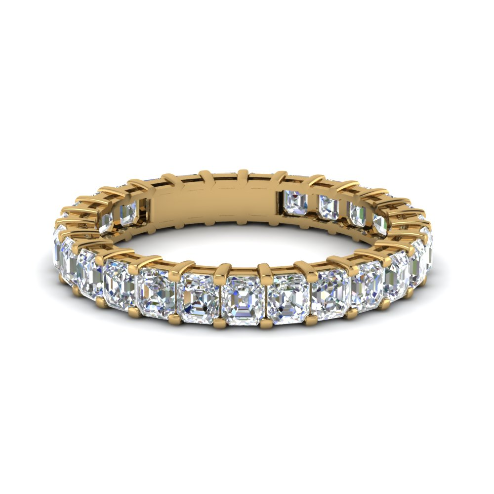 Asscher Cut Ternity Diamond Band In 14K Yellow Gold