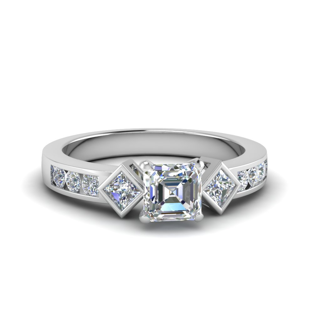 asscher cut three stone moissanite engagement ring in FDENS276ASR NL WG