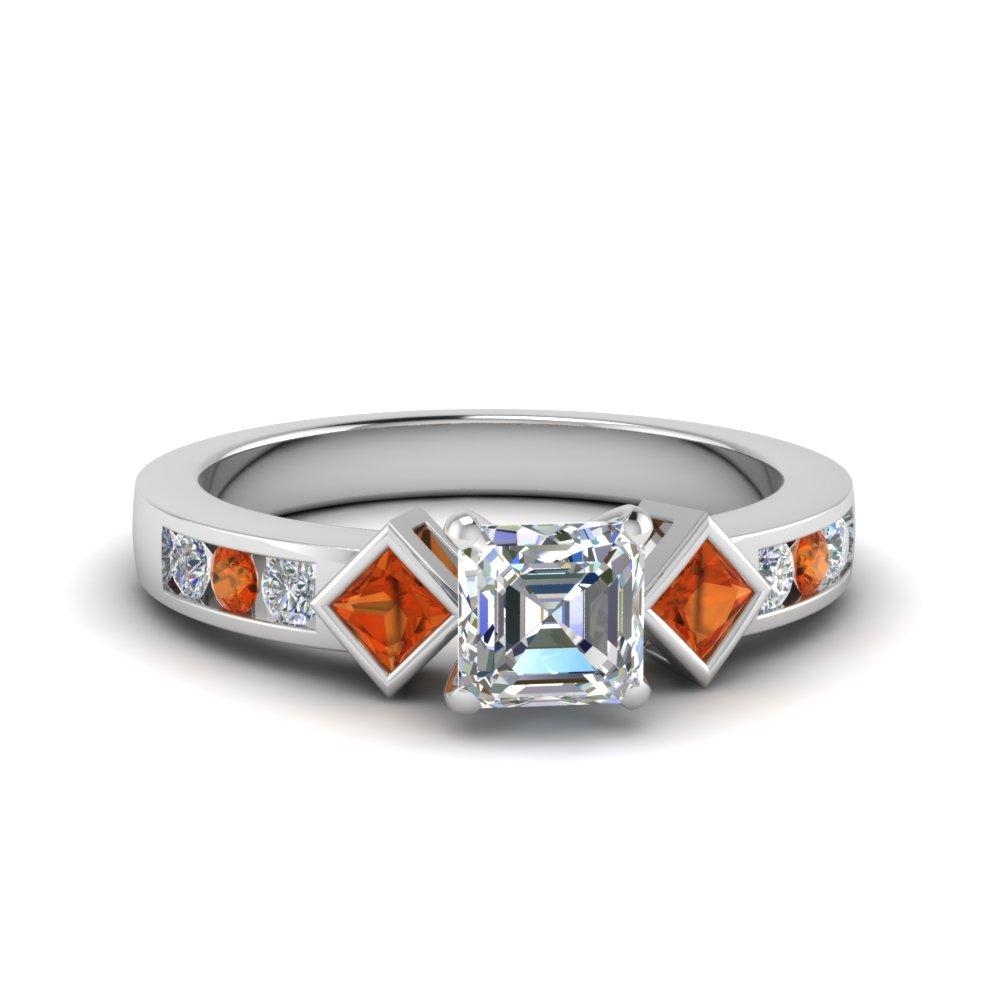 asscher cut three stone diamond engagement ring with orange sapphire in FDENS276ASRGSAOR NL WG