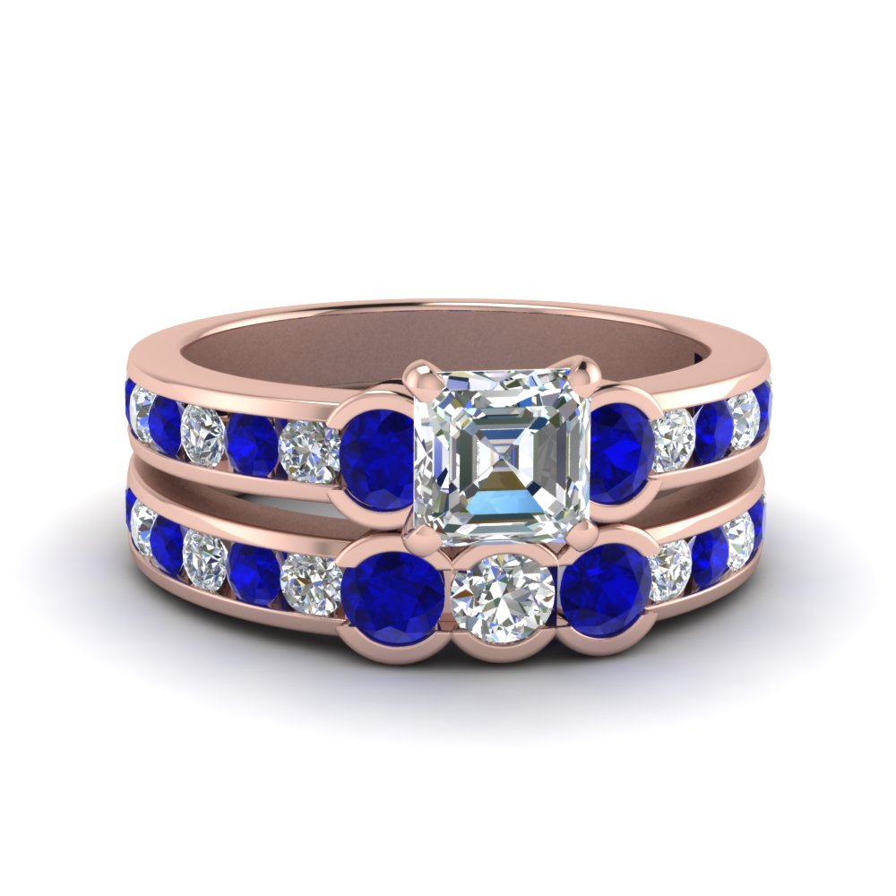 Sapphire Wedding Set With Asscher