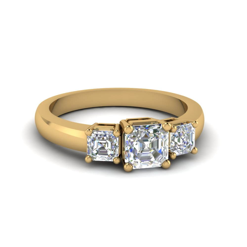 Asscher Cut Trio Diamond Ring 1 Carat