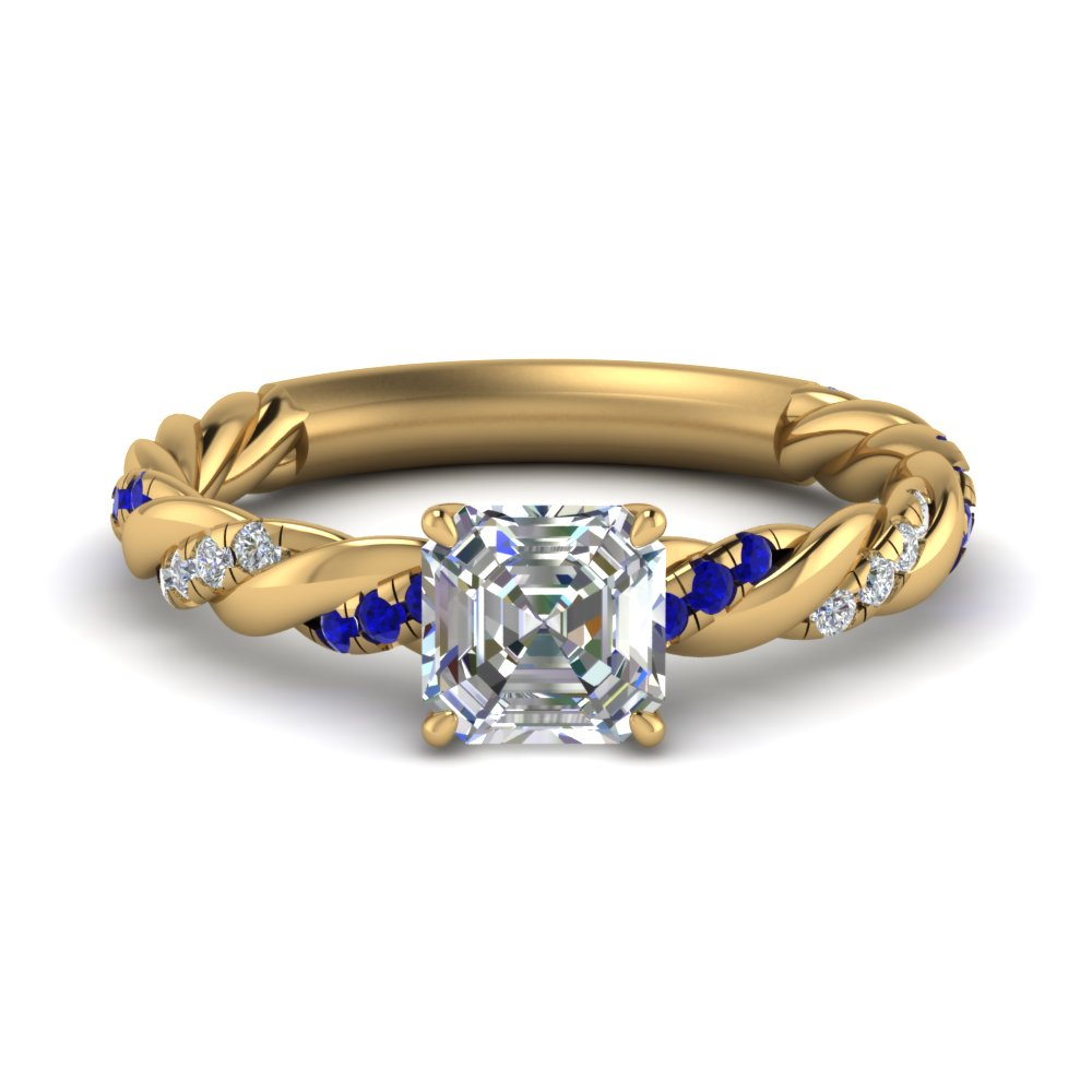 asscher cut twisted delicate diamond engagement ring with sapphire in FD9127ASRGSABL NL YG