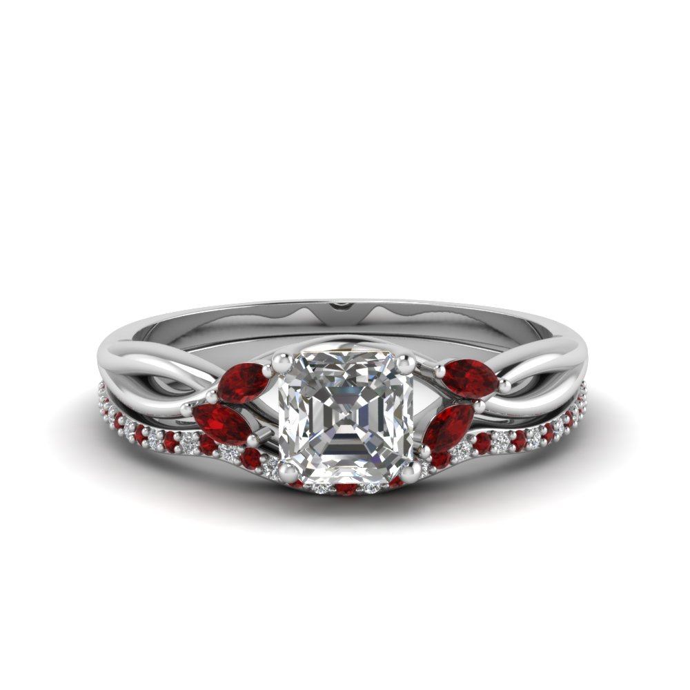 asscher cut twisted moissanite bridal set with ruby in FD8300ASGRUDR NL WG