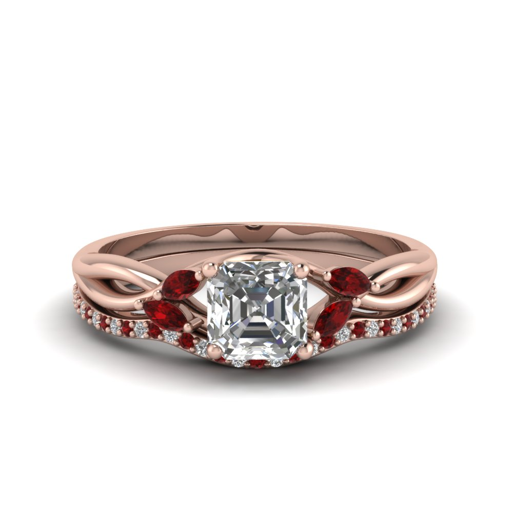 asscher cut twisted diamond bridal set with ruby in FD8300ASGRUDR NL RG