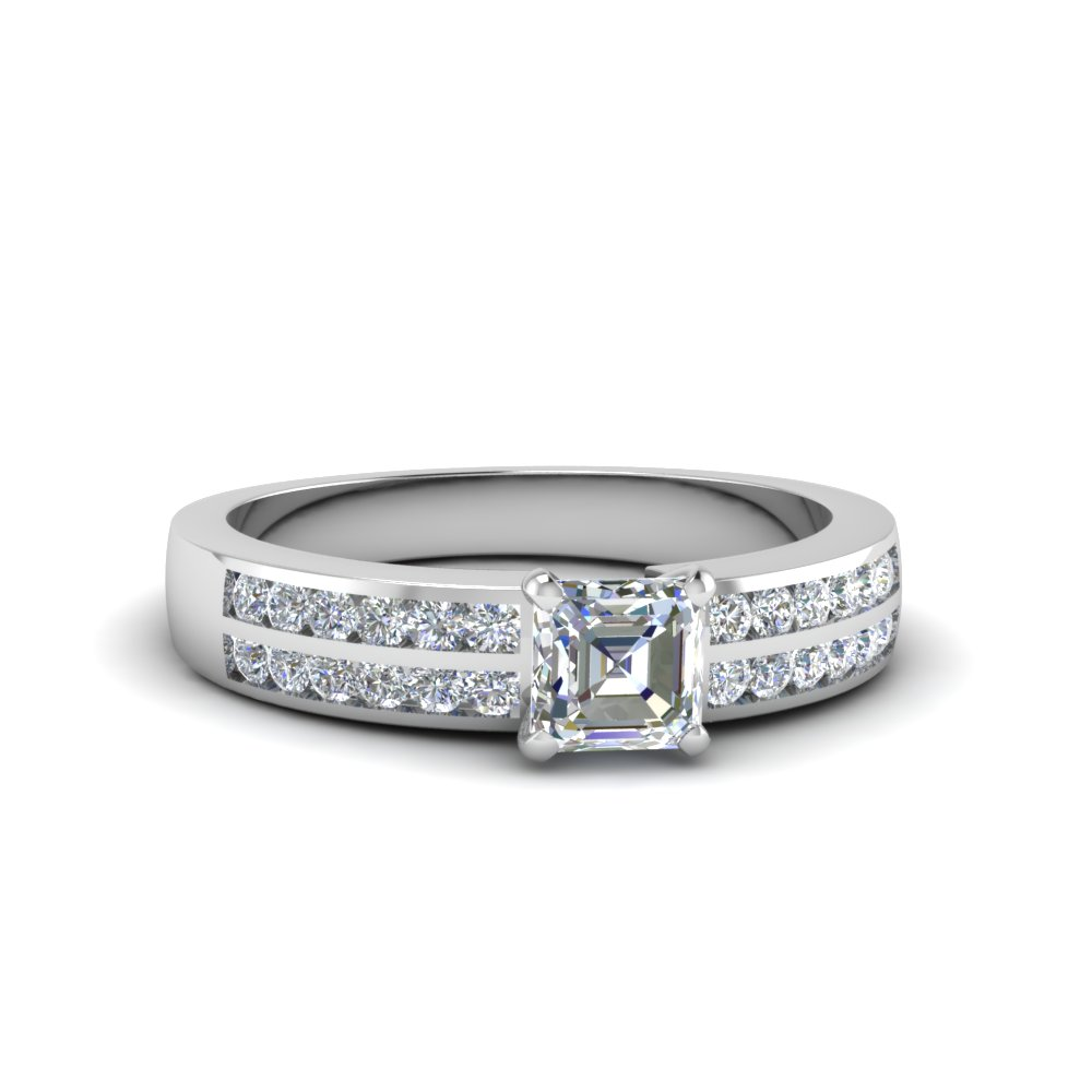 Double Row Channel Set Engagement Ring