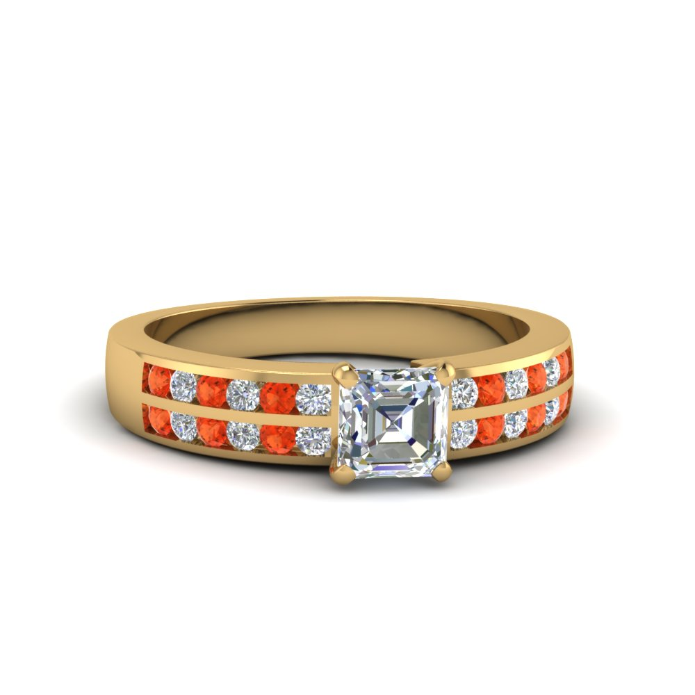 asscher cut two row channel diamond ring with orange topaz in 14K yellow gold FDENS3119ASRGPOTO NL YG