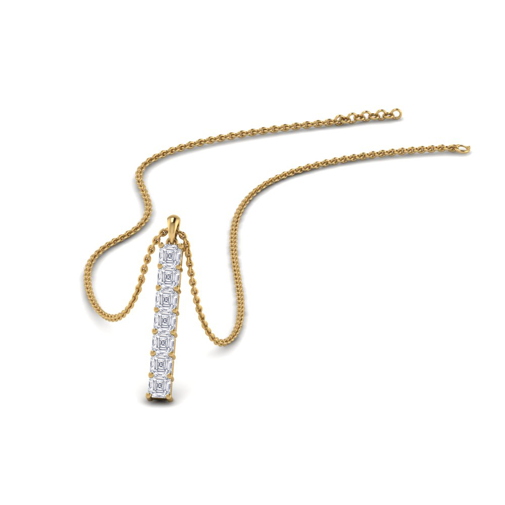 Asscher Cut Diamond Bar Necklace