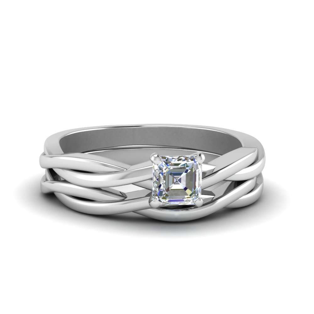 White Gold Asscher Cut Wedding Sets