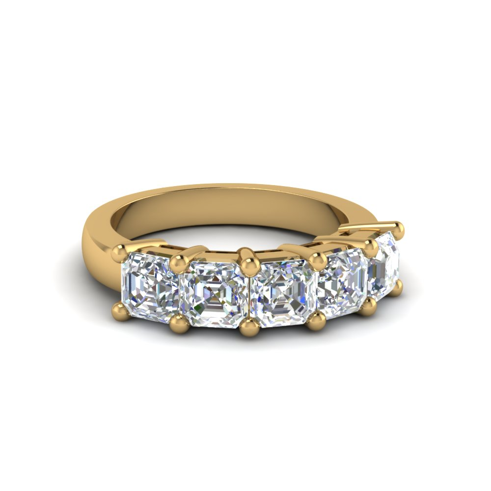 2 Ct. Asscher Cut Five Stone Band