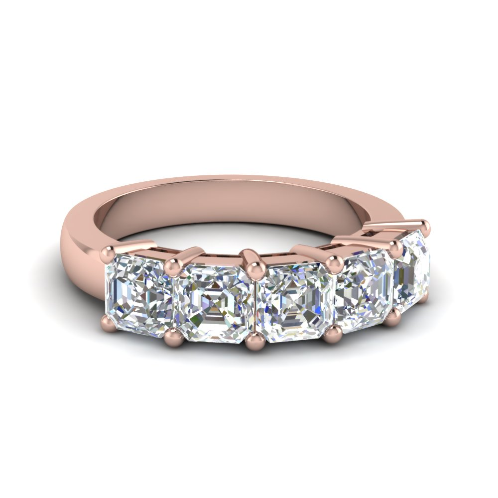 2.5 ct. asscher diamond wedding anniversary band in 14K rose gold FD8008ASB NL RG