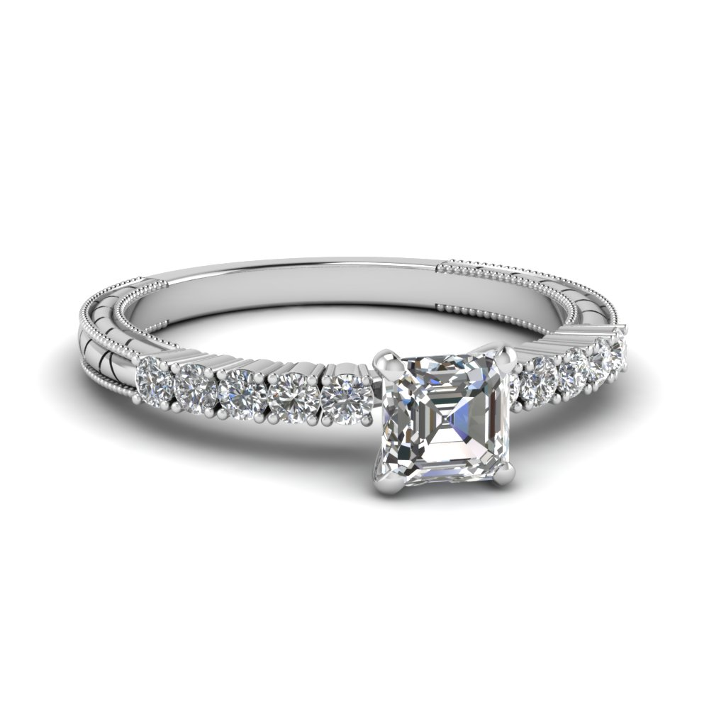 Asscher cut Thin Band Cheap Natural Diamond Ring