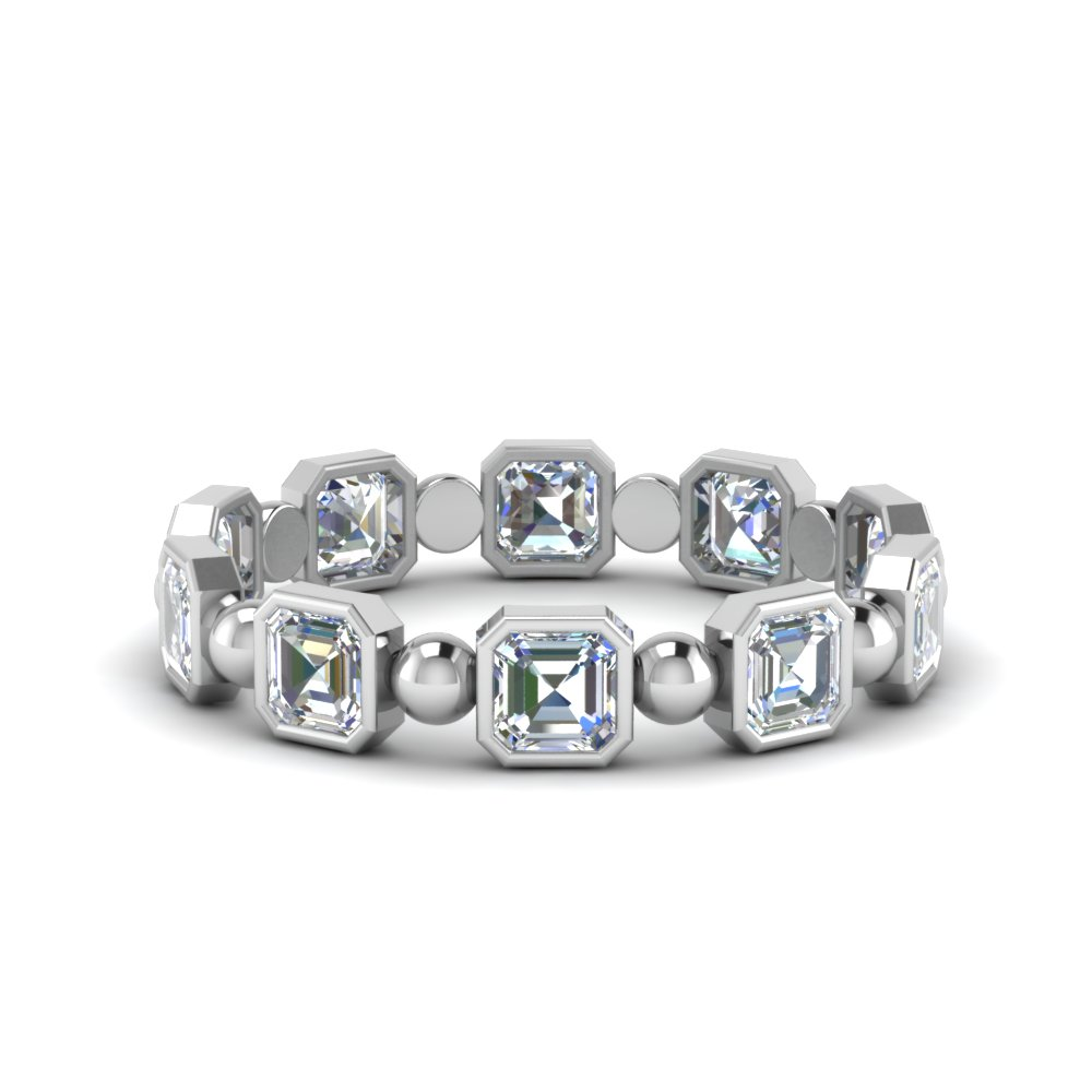 Asscher Diamond 14K White Gold Band