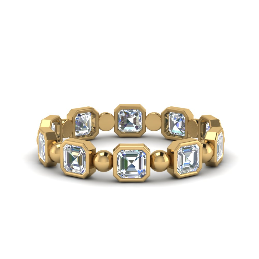 Asscher Cut With Bead Eternity Band