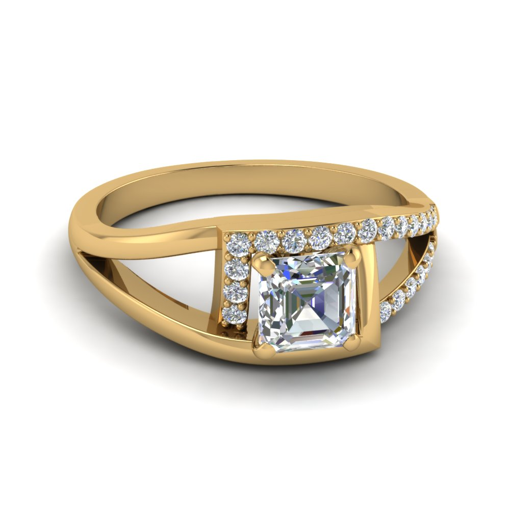 Asscher Cut Square Split Halo Ring