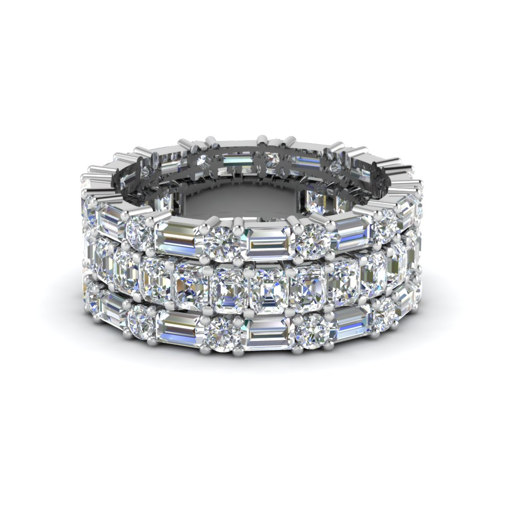 Asscher Eternity Band With Matching Baguette