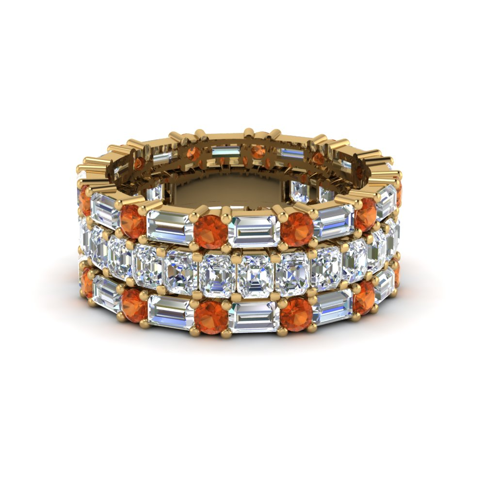 Yellow Gold Orange Sapphire Band