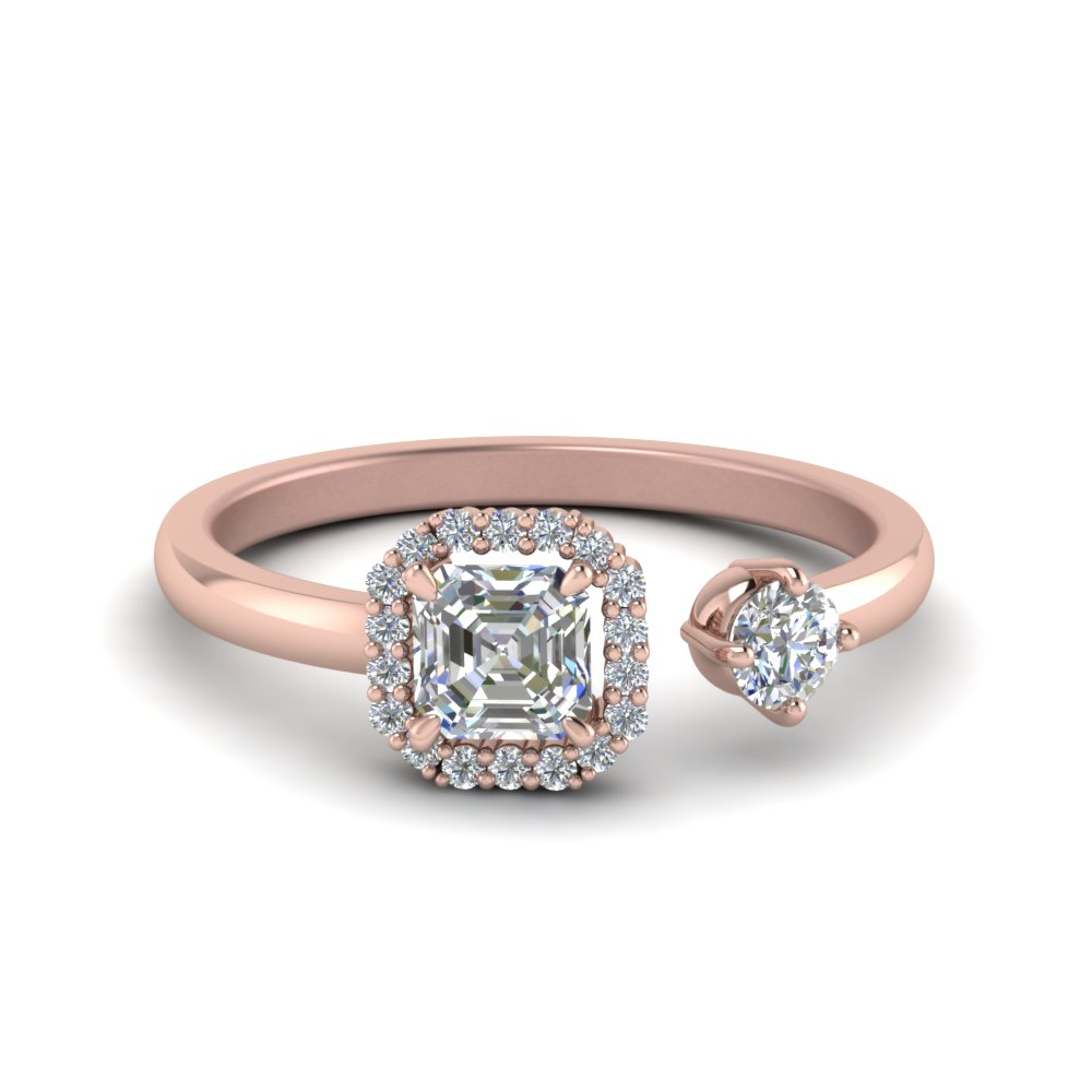 Asscher Halo Diamond Open Wrap Ring In 14K Rose Gold