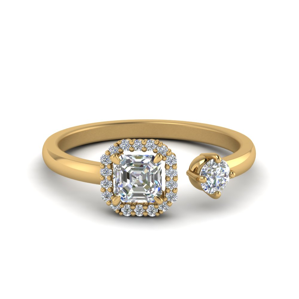 Asscher Halo Diamond Open Wrap Ring In 14K Yellow Gold